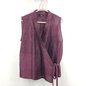 Eileen Fisher Wrap Silk Blend Blouse M